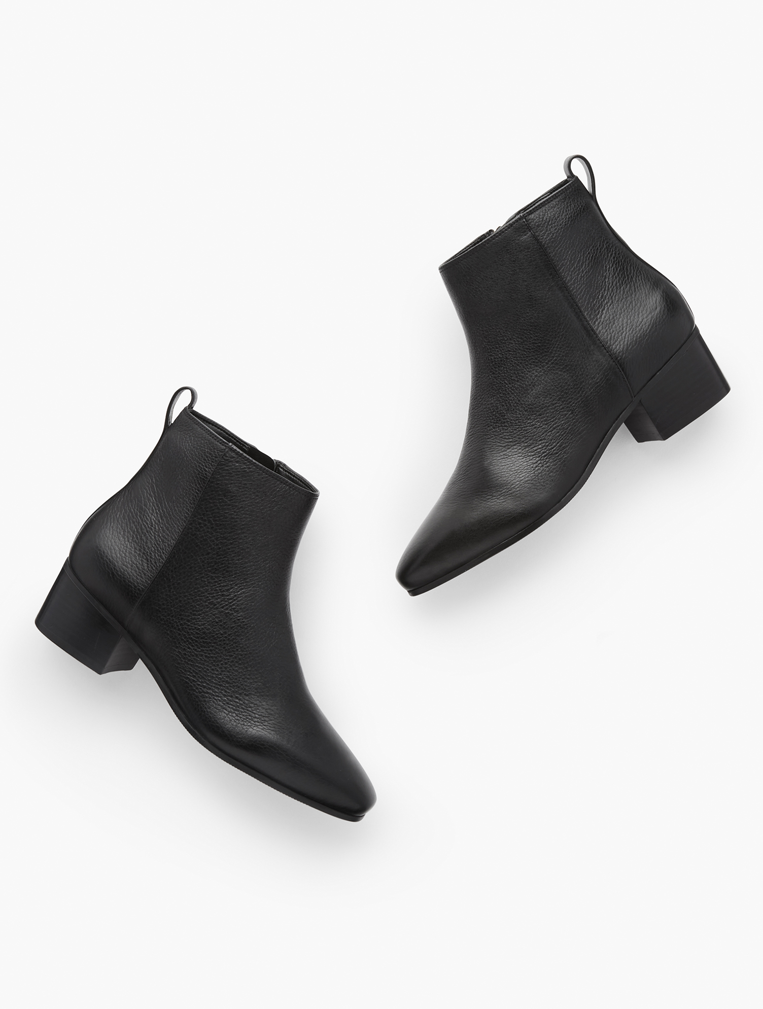 Your favorite Dakota ankle boots are back. In soft pebbled leather. With block heel and inside zip. Features Inside side zipper1 3/4 inches heelAlmond toe3MM Memory Foam FootbedImported Material: 100% Leather Dakota Ankle Boots - Pebbled Leather - Black - 11M Talbots