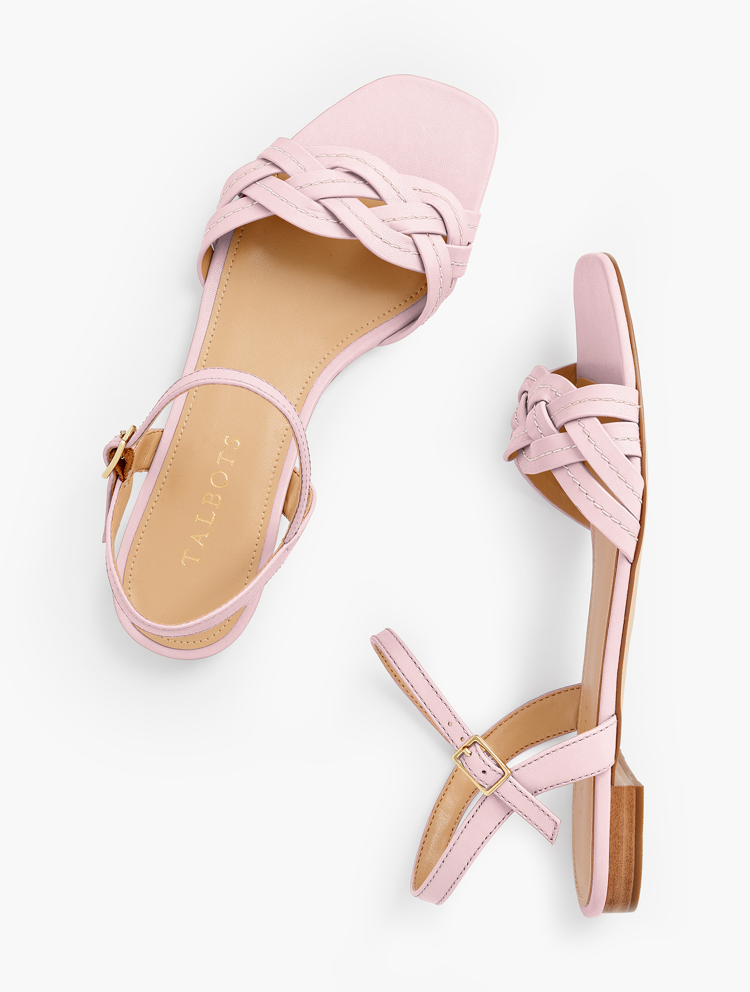 Our Violet braided sandals. Featuring an on-trend square footbed. In a variety of colors so you don\\\'t have to choose just one. Features 1/2 inches heelSquare ToeFlexible Non Skid Sole3Mm Memory Foam FootbedImported Material: 100% Leather Violet Braided Flat Sandals - Coral Buff - 9M Talbots