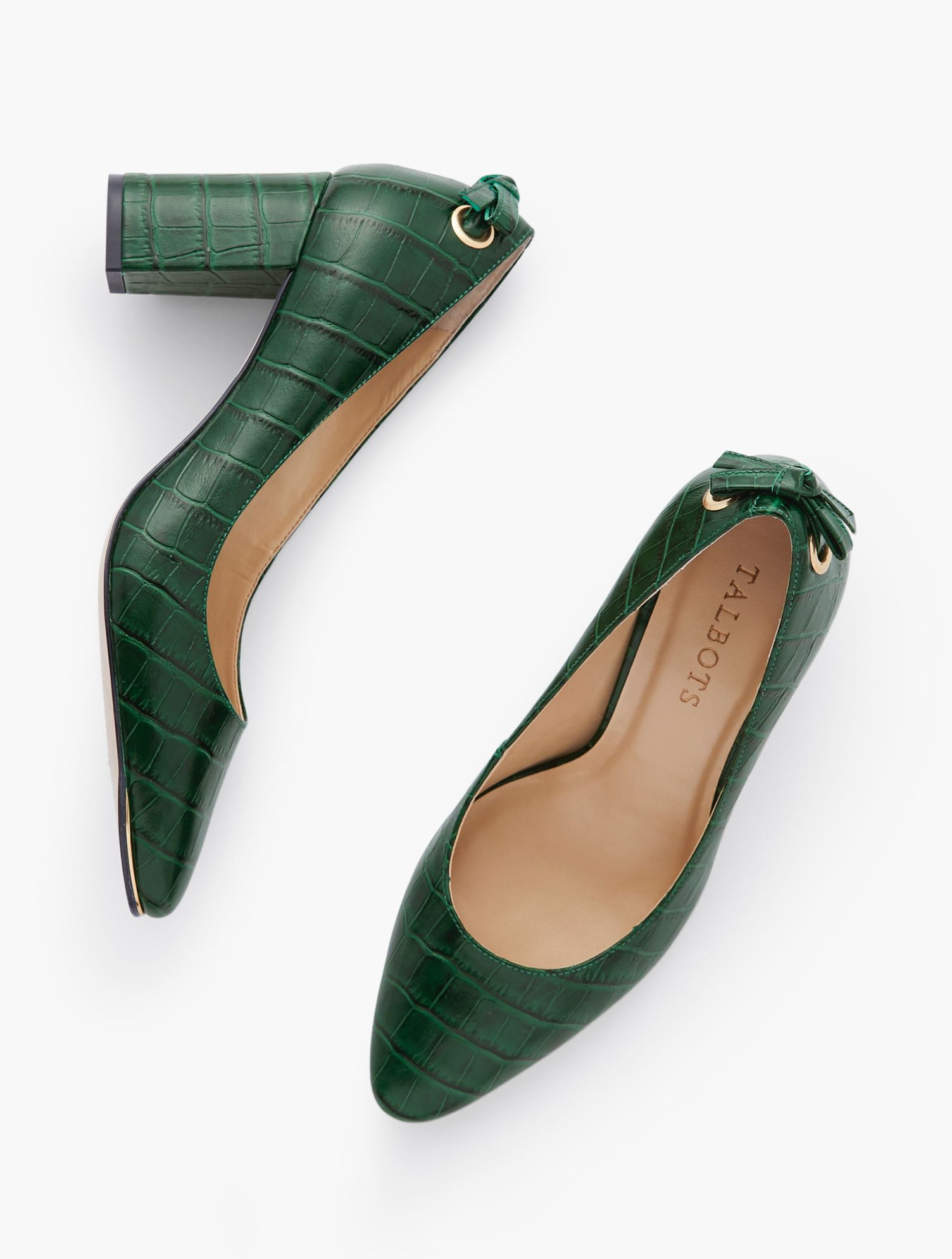 Our classic Kelsey Block Heel Pumps. Tie detail at back adds an extra dose of fashion interest. Pure leather, rendered in embossed croc design. Features 3MM Memory foam footbed3 inches heelBack tie detailAlmond toeImported Material: 100% Leather Kelsey Tie Detail Block Heel Pumps - Embossed Croc - Green - 11M Talbots