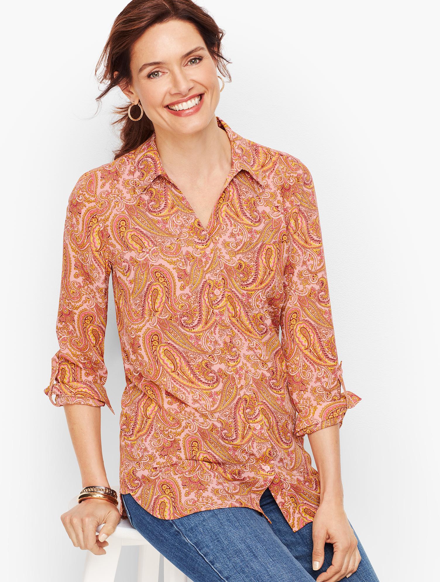 60s Shirts, T-shirt, Blouses, Hippie Shirts Soft Shirt - Paisley - BALLET-SLIPPERS - XL - Talbots $62.65 AT vintagedancer.com