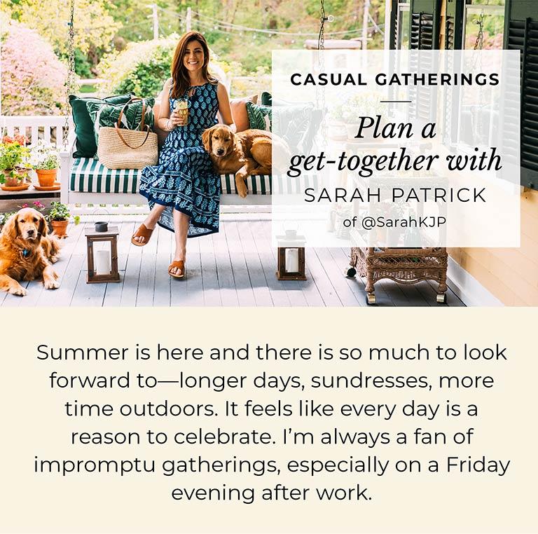 Plan a get-together with Sarah Patrick of @SarahKJP